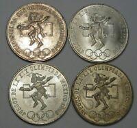 4 Silver 1968 25 Pesos. -Olympics Dancer- . -MEXICO- #10