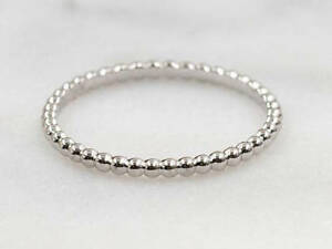 1.7MM BEADED Solid Gold Wedding Ring.Minimalist Beaded Gold Band.14k Stackable.