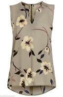 ex NEXT Top - Next Mink Floral Sleeveless Top with Dip Hem