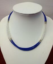 Afghan Natural Lapis Lazuli Tiny Seed Small Beads Necklace Multi Strand Vintage