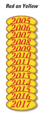 Car Dealer Windshield Oval Model Year Stickers, 4 Digit, Red and Yellow 05-17
