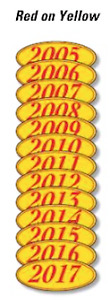 Car Dealer Windshield Oval Model Year Stickers 4 Digit Red and Yellow 05-17