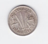 1944 S Sterling Silver Threepence 3P Coin Australia W-429