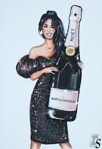 Champagne Glitter Canvas Picture. Print ONLY or with Frame.