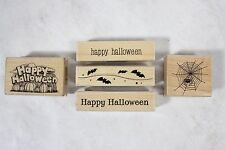 Lot of 5 Unused Hero Arts Halloween Wood Mounted Rubber Stamps Bats Spiders!