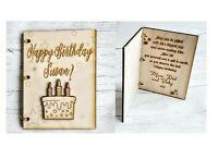 Personalised Wooden Card Birthday Gift Anniversary Baby Shower Wedding Congrats
