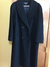 Womens Donny Brook Black Long Wool Double Breasted Trench Coat Size 6