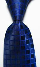 New Classic Checks Blue Black JACQUARD WOVEN 100% Silk Men's Tie Necktie