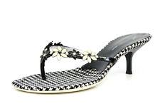 Giuseppe Zanotti Vicini 1038 Beaded Floral Black White Flip Flop Heels Size 39.5