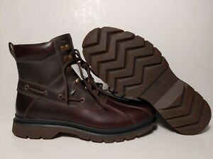 SPERRY MEN'S WATERTOWN TAN/OLIVE STS19173 LEATHER DUCK BOOT SIZE: 13