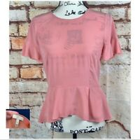 JOIE Pink Coral Silk Ruffle High Low Zip Up Back Peplum Top Blouse SIZE SMALL