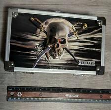 "VAULTZ LOCKING SUPPLY BOX EMBOSSED PIRATE SKULL W/SWORDS 5"" x 2.5"" x 8.5"" ROYCE"