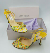 NEW JIMMY CHOO Multi Color Polka Dot Satin Sling Backs Sandals Size 9 NIB