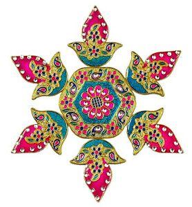 Rangoli Acrylic Rangoli With Creative Design, Kundan Work & Bright Colors , 7 Pc