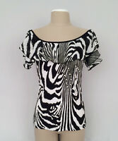 Ladies PICADILLY $138 Black & White Zebra Pullover Ruffle Top-Blouse Sz.Small-A+