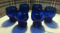 IMPERIAL GLASS CO COBALT BLUE SET OF SIX 8 OZ DRINKING GLASSES USA VINTAGE