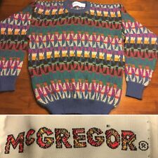 Vtg McGregor Mens Sweater Fresh Prince Biggie Cosby Multi Color Sz. L Rockabilly
