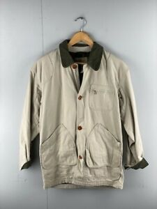 LL Bean Mens Beige Vintage Cotton Collared Long Sleeve Denim Jacket Size Small
