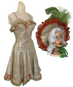 Vtg 50s Gold Lame Lurex Tinsel Can Can Circle Skirt Dress Pin Up Vlv Hat Sequins