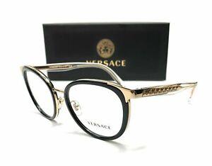 Versace VE1249 1252 Black Gold Demo Lens Women Phantos Eyeglasses Frame 52 mm