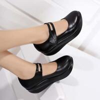 Womens Leather Pumps Nursing Shoes Round Toe Wedge Heels Mary Jane Plus SZ4-10.5