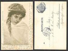Old Austria Postcard - Artist H. v. Kaulbach - Maiden of Capri