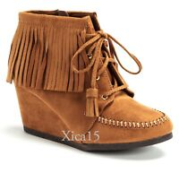 Women's Ankle Boots Wedge Round Toe Lace Up Moccasin Fringe Booties in Black