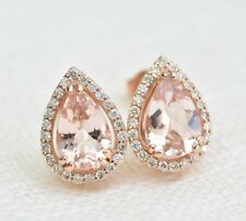 Delicated 2.20Ct Pear Cut Morganite Halo Stud Earrings 14K Rose Gold Finish