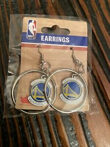 NBA 🔥 Golden State Warriors Hoop Earrings with  Dangle Emblem Sealed Free Ship