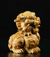 China Natural Boxwood Carve Fengshui Foo Fu Dog Guardion Door Evil Lion Statue
