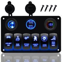 USB Switch Panel 12-24V ON-OFF Toggle 6 GANG Blue LED Rocker for Car Boat Marine