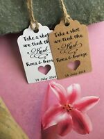 Personalised We Tied the Knot Take a Shot  Wedding Favour Tags  Thank You 20512