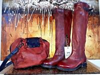 NEU - AIRSTEP A.S.98 Damen Vintage Leder Leather Shopper Handtasche Bag rot