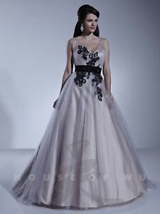 NWT Size 16 Dere Kiang 11158 Platinum/black tulle ball gown with train