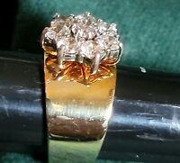 925 Sterling & CZ Flower Big Bling Ring Gold ovr Silver Engagement/Cocktail Ring