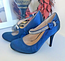 BRAND NEW BLUE SATIN HEELS WITH DIAMONTE STRAP & BOW 1950'S STYLE UK 4 EUR 37