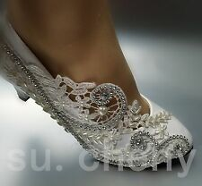 Low heel Lace white light ivory crystal Wedding shoes Bridal pumps size US 5-12