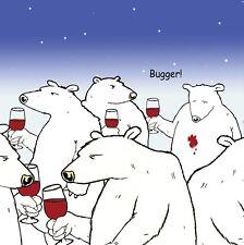 Funny Card-Bugger -Blank Card -Happy Birthday Card -Humour Card -Polar Bear-Wine