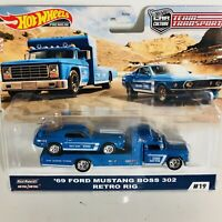 "2020 HOT WHEELS TEAM TRANSPORT "" '69 FORD MUSTANG BOSS 302"" - ""RETRO RIG"""