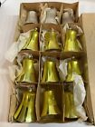 12 Gold/Silver Vintage Christmas Tree Glass Bell Ornaments Made In West Germany