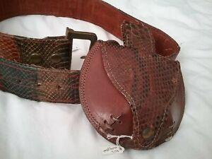 Vintage Snakeskin Belt & Money pouch, 1970s genuine Rock Star accessories