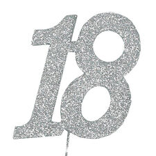 18 Glitter Number on a Pick - 18th Birthday Anniversary Cake Decoration Topper