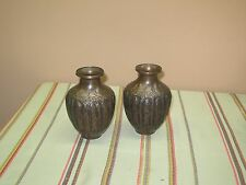 PAIR @ 2 ANTIQUE ISLAMIC HAND ETCHED EMBOSSED COPPER VASE PERSEPOLIS 6.5""