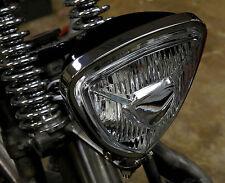 TRIANGLE SPOT HEAD LIGHT CHROME & BLACK BACK HARLEY TRIUMPH XS650 BOBBER CHOPPER