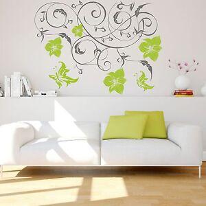 WANDTATTOO Ranke Maja Blüten Schmetterling Wandaufkleber Wandsticker
