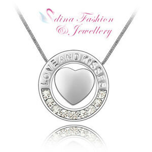 18K White Gold Plated Swarovski Crystal Letter Love & Kiss Round Heart Necklace