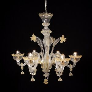 Muranese Imperiale chandelier in Murano glass 6 lights crystal amber