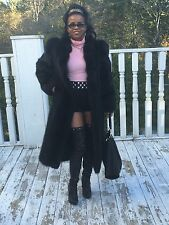 Designer Full Length Black Fox Fur & Raccoon Fur Coat Jacket Stroller S-M 0-8