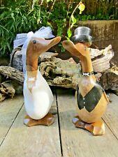 More details for hand carved made wooden wedding duck ornament sculpture bride groom set of 2
