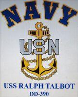USS RALPH TALBOT DD-390* DESTROYER* U.S NAVY W/ ANCHOR* SHIRT